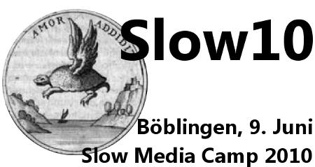 Amor Addit. Emblem mit geflügelter Schildkröte. Slow Media Camp 2010